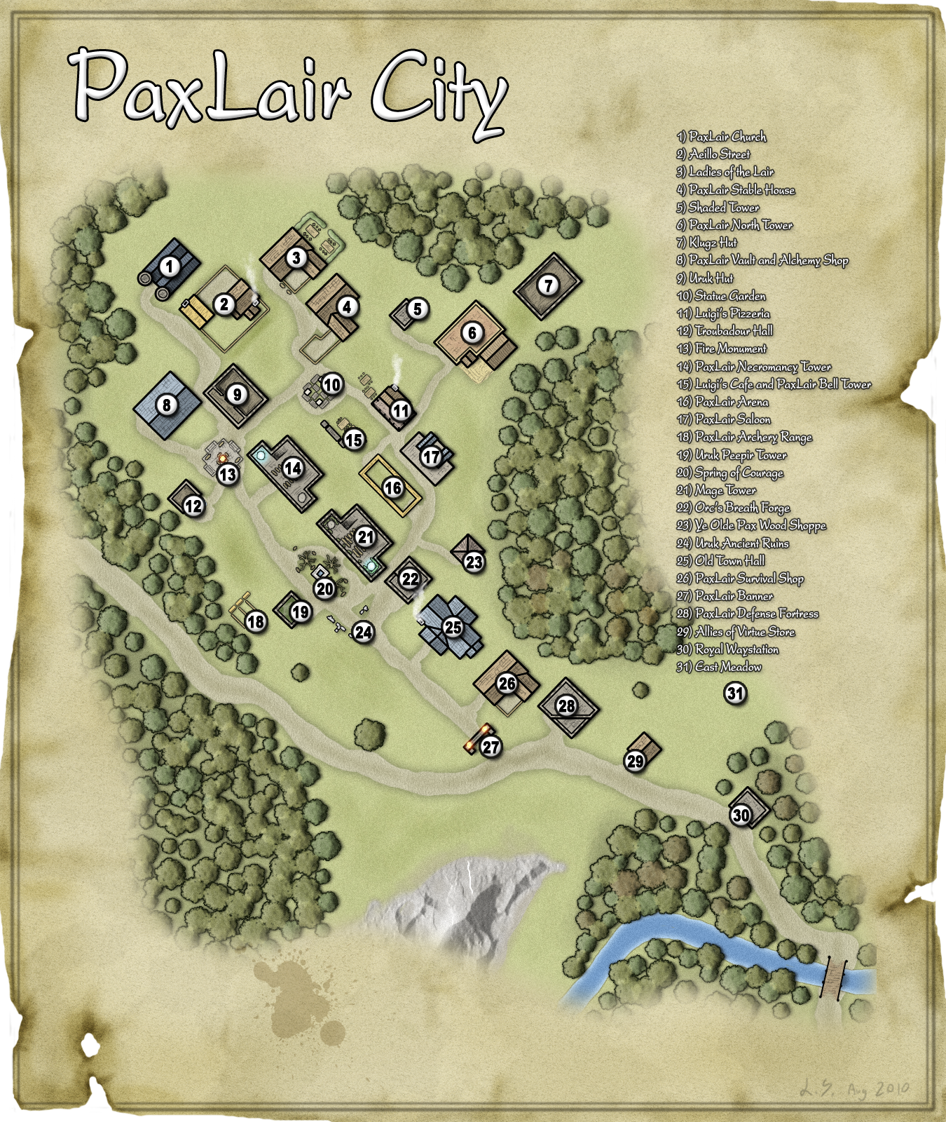 A plan view of PaxLair City as it looked in August, 2010.